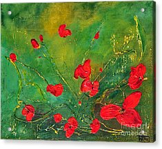 Acrylic Print featuring the painting Red Poppies by Teresa Wegrzyn