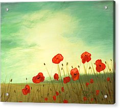 Red Poppy Field With Green Sky Acrylic Print by Cecilia Brendel