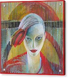 Red Portrait Acrylic Print by Alicja Coe