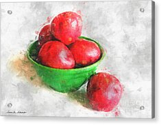 Red Potatoes In A Green Bowl Acrylic Print by Susan Schroeder