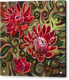 Red Proteas Acrylic Print by Jen Norton