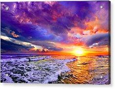 Red Purple Sea Sunset-sun Trail Waves Seascape Acrylic Print