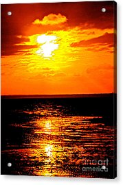 Red Rage Of Dusk Acrylic Print by Q's House of Art ArtandFinePhotography