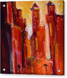 Red Rainy City Acrylic Print