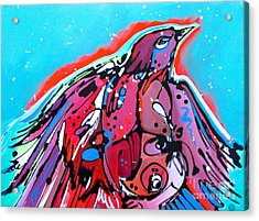 Acrylic Print featuring the painting Red Raven by Nicole Gaitan