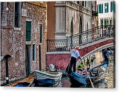 Red Ribbon Gondolier Acrylic Print by Joan Herwig