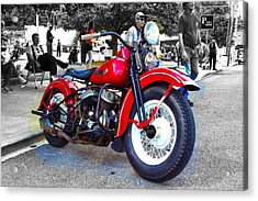 Red Rider On Black Acrylic Print