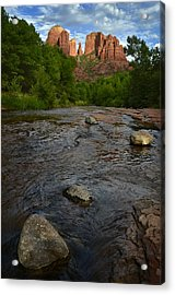 Red River Crossing Under Cathedral Rock Acrylic Print by Dave Dilli