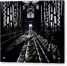Acrylic Print featuring the photograph Red River Rail Road Crossing by Diana Mary Sharpton
