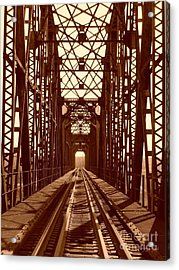 Acrylic Print featuring the photograph Red River Train Bridge #1 by Robert ONeil