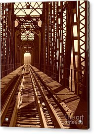 Acrylic Print featuring the photograph Red River Train Bridge #2 by Robert ONeil