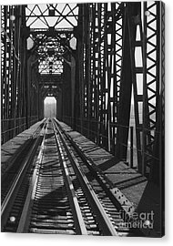 Acrylic Print featuring the photograph Red River Train Bridge #3 by Robert ONeil