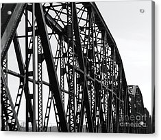 Acrylic Print featuring the photograph Red River Train Bridge #4 by Robert ONeil