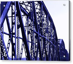 Acrylic Print featuring the photograph Red River Train Bridge #5 by Robert ONeil