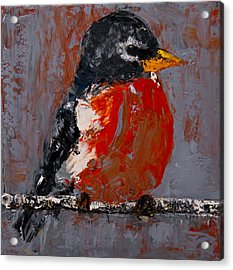 Acrylic Print featuring the painting Red Robin by Jani Freimann