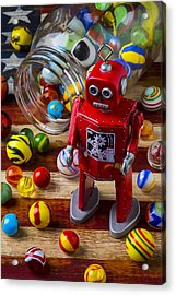 Red Robot And Marbles Acrylic Print by Garry Gay
