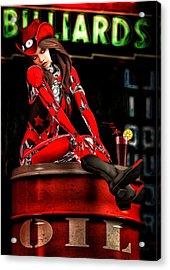 Red Robot On A Saturday Night  Acrylic Print by Bob Orsillo