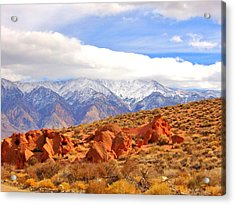 Red Rock And Desert Acrylic Print by Marilyn Diaz