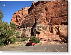 Red Rock And Red Car Acrylic Print by Frank Romeo