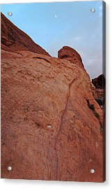 Acrylic Print featuring the photograph Red Rock And The Moon by Francesco Emanuele Carucci