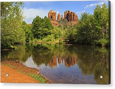 Red Rock Reflection Acrylic Print by Mike Lang