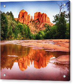 Red Rock State Park - Cathedral Rock Acrylic Print by Bob and Nadine Johnston