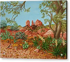 Acrylic Print featuring the painting Landscapes Desert Red Rocks Of Sedona Arizona by Katherine Young-Beck
