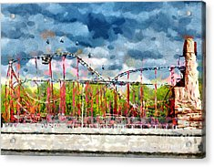 Red Roller Coaster Painting Acrylic Print by Magomed Magomedagaev