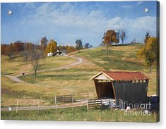 Red Roof Covered Bridge Acrylic Print