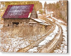 Red Roof In The Snow  Acrylic Print by Debra and Dave Vanderlaan