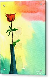 Red Rose 1 Acrylic Print by Anil Nene