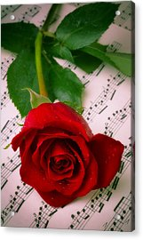 Red Rose On Sheet Music Acrylic Print