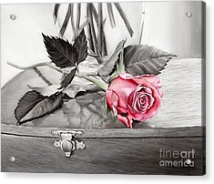 Red Rosebud On The Jewelry Box Acrylic Print