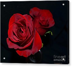 Red Roses For A Blue Lady Acrylic Print by Luther Fine Art