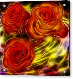 Acrylic Print featuring the painting Red Roses In Water - Fractal  by Lilia D