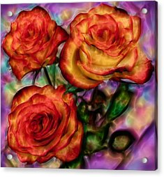 Acrylic Print featuring the digital art Red Roses In Water - Silk Edition by Lilia D