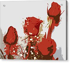 Red Roses Acrylic Print by Karen Nicholson