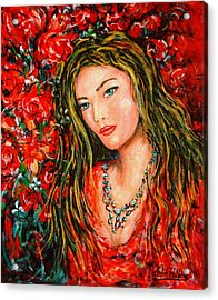 Red Roses Acrylic Print by Natalie Holland