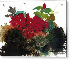 Acrylic Print featuring the painting Red Roses On The Rocks by Elaine Elliott