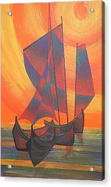 Acrylic Print featuring the painting Red Sails In The Sunset by Tracey Harrington-Simpson