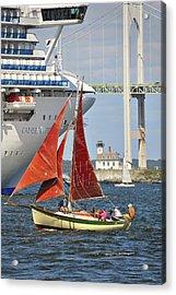 Red Sails Newport Ri Acrylic Print by Marianne Campolongo