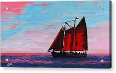 Acrylic Print featuring the painting Red Sails On The Chesapeake - New Multimedia Acrylic/oil Painting by G Linsenmayer