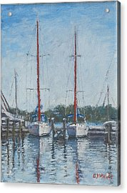 Red Sails Under Gray Sky Acrylic Print