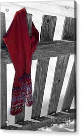 Red Scarf Hanging On Fence Acrylic Print by Birgit Tyrrell