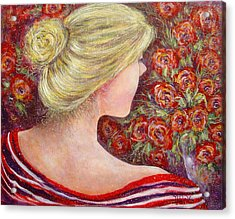 Acrylic Print featuring the painting Red Scented Roses by Natalie Holland