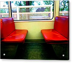 Red Seats Transportation Acrylic Print by Gina  Zhidov