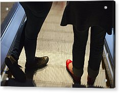 Red Shoe On Escalator Acrylic Print