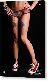 Red Shoes And Tats Acrylic Print by Jt PhotoDesign
