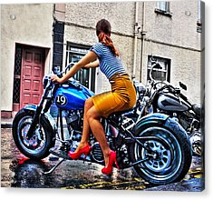 Red Shoes On A Harley Acrylic Print by Tony Reddington