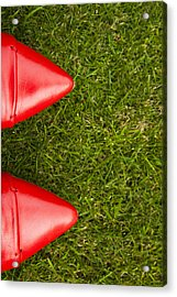 Red Shoes On Grass Acrylic Print
